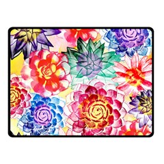 Colorful Succulents Double Sided Fleece Blanket (small)  by DanaeStudio