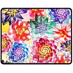 Colorful Succulents Double Sided Fleece Blanket (medium)  by DanaeStudio