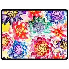 Colorful Succulents Double Sided Fleece Blanket (large)  by DanaeStudio