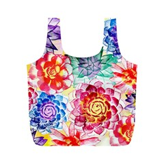 Colorful Succulents Full Print Recycle Bags (m)  by DanaeStudio