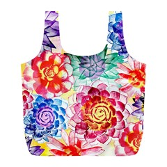 Colorful Succulents Full Print Recycle Bags (l)  by DanaeStudio