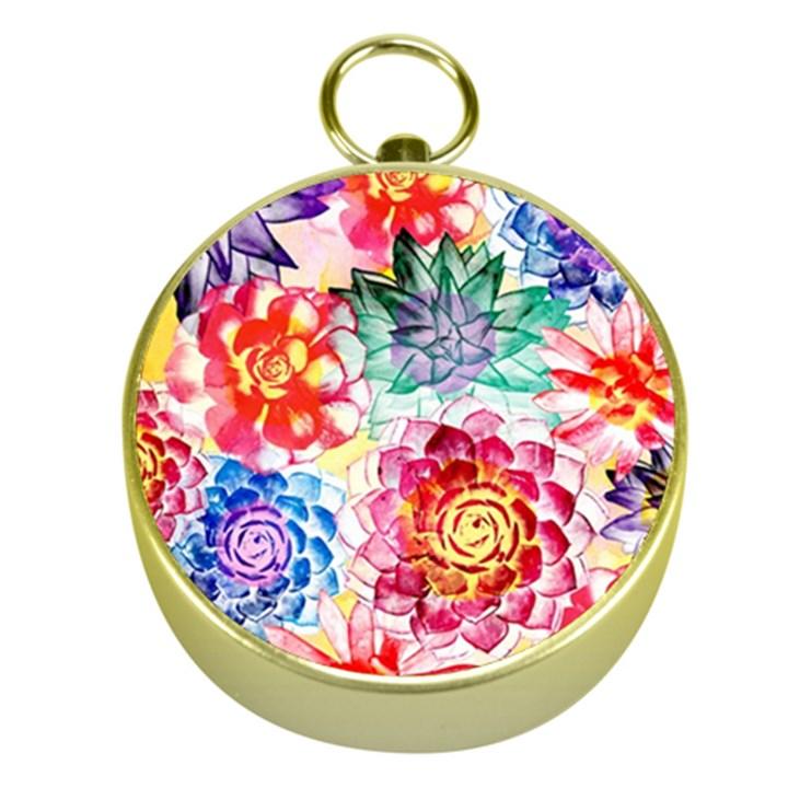 Colorful Succulents Gold Compasses