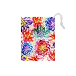 Colorful Succulents Drawstring Pouches (Small)  Front