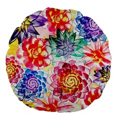 Colorful Succulents Large 18  Premium Flano Round Cushions by DanaeStudio