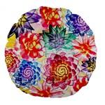 Colorful Succulents Large 18  Premium Flano Round Cushions