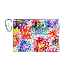 Colorful Succulents Canvas Cosmetic Bag (m) by DanaeStudio