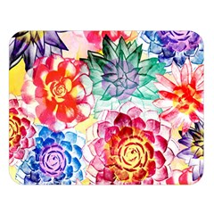 Colorful Succulents Double Sided Flano Blanket (large)  by DanaeStudio