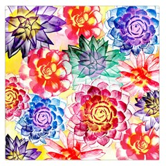 Colorful Succulents Large Satin Scarf (square) by DanaeStudio