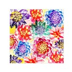 Colorful Succulents Small Satin Scarf (Square)  Front