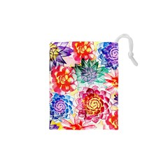 Colorful Succulents Drawstring Pouches (xs)