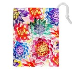 Colorful Succulents Drawstring Pouches (XXL) Front
