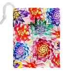 Colorful Succulents Drawstring Pouches (XXL) Back
