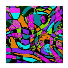Abstract Sketch Art Squiggly Loops Multicolored Tile Coasters