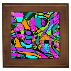 Abstract Sketch Art Squiggly Loops Multicolored Framed Tiles by EDDArt