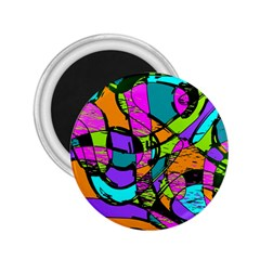 Abstract Sketch Art Squiggly Loops Multicolored 2 25  Magnets