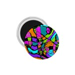 Abstract Sketch Art Squiggly Loops Multicolored 1.75  Magnets Front