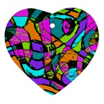 Abstract Sketch Art Squiggly Loops Multicolored Ornament (Heart)  Front