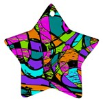 Abstract Sketch Art Squiggly Loops Multicolored Ornament (Star)  Front