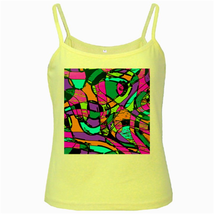 Abstract Sketch Art Squiggly Loops Multicolored Yellow Spaghetti Tank