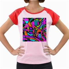 Abstract Sketch Art Squiggly Loops Multicolored Women s Cap Sleeve T Shirt