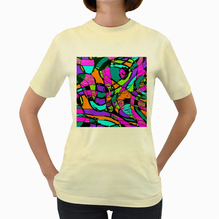 Abstract Sketch Art Squiggly Loops Multicolored Women s Yellow T-Shirt