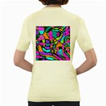 Abstract Sketch Art Squiggly Loops Multicolored Women s Yellow T-Shirt Back