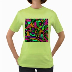 Abstract Sketch Art Squiggly Loops Multicolored Women s Green T Shirt