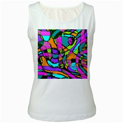 Abstract Sketch Art Squiggly Loops Multicolored Women s White Tank Top