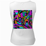 Abstract Sketch Art Squiggly Loops Multicolored Women s White Tank Top Back