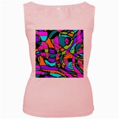 Abstract Sketch Art Squiggly Loops Multicolored Women s Pink Tank Top