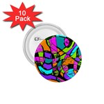 Abstract Sketch Art Squiggly Loops Multicolored 1.75  Buttons (10 pack) Front