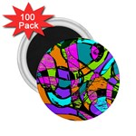 Abstract Sketch Art Squiggly Loops Multicolored 2.25  Magnets (100 pack)  Front