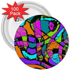 Abstract Sketch Art Squiggly Loops Multicolored 3  Buttons (100 Pack)