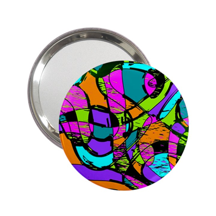 Abstract Sketch Art Squiggly Loops Multicolored 2.25  Handbag Mirrors