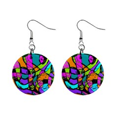 Abstract Sketch Art Squiggly Loops Multicolored Mini Button Earrings