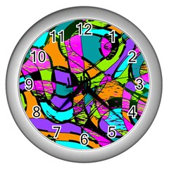 Abstract Sketch Art Squiggly Loops Multicolored Wall Clocks (silver)  by EDDArt