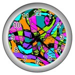 Abstract Sketch Art Squiggly Loops Multicolored Wall Clocks (Silver)  Front