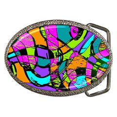 Abstract Sketch Art Squiggly Loops Multicolored Belt Buckles