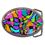 Abstract Sketch Art Squiggly Loops Multicolored Belt Buckles Front