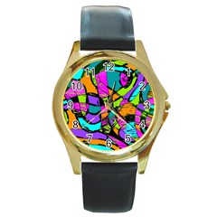 Abstract Sketch Art Squiggly Loops Multicolored Round Gold Metal Watch