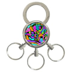 Abstract Sketch Art Squiggly Loops Multicolored 3 Ring Key Chains