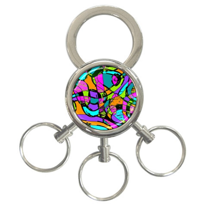 Abstract Sketch Art Squiggly Loops Multicolored 3-Ring Key Chains