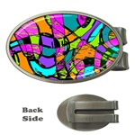 Abstract Sketch Art Squiggly Loops Multicolored Money Clips (Oval)  Front