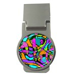 Abstract Sketch Art Squiggly Loops Multicolored Money Clips (Round)  Front