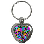 Abstract Sketch Art Squiggly Loops Multicolored Key Chains (Heart)  Front