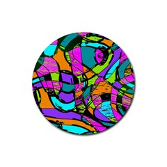 Abstract Sketch Art Squiggly Loops Multicolored Rubber Coaster (round)
