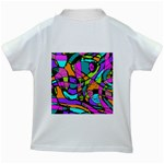 Abstract Sketch Art Squiggly Loops Multicolored Kids White T-Shirts Back