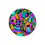 Abstract Sketch Art Squiggly Loops Multicolored Magnet 3  (Round) Front