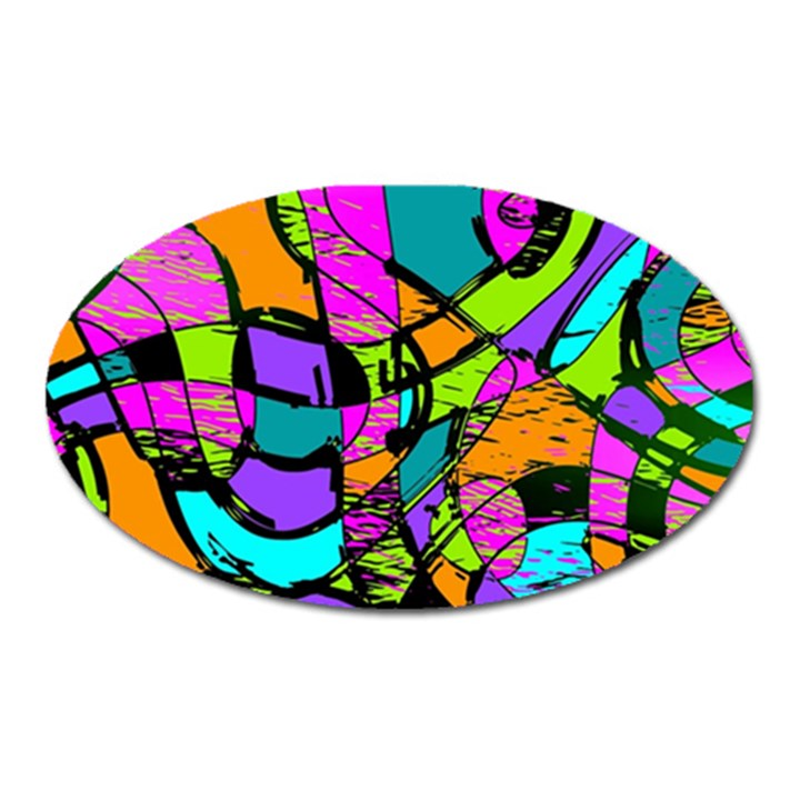 Abstract Sketch Art Squiggly Loops Multicolored Oval Magnet