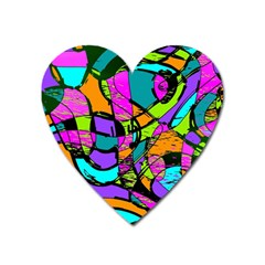 Abstract Sketch Art Squiggly Loops Multicolored Heart Magnet by EDDArt
